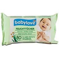 Babylove Feuchte Tucher Aloe vera + Kamillen-Extract детские влажные салфетки с алое вера и ромашкой 80 шт.