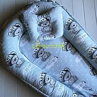 Гнездо-кокон для новорожденного 85Х40 см (подушка для беременной, подушка для кормления) Мишки серые