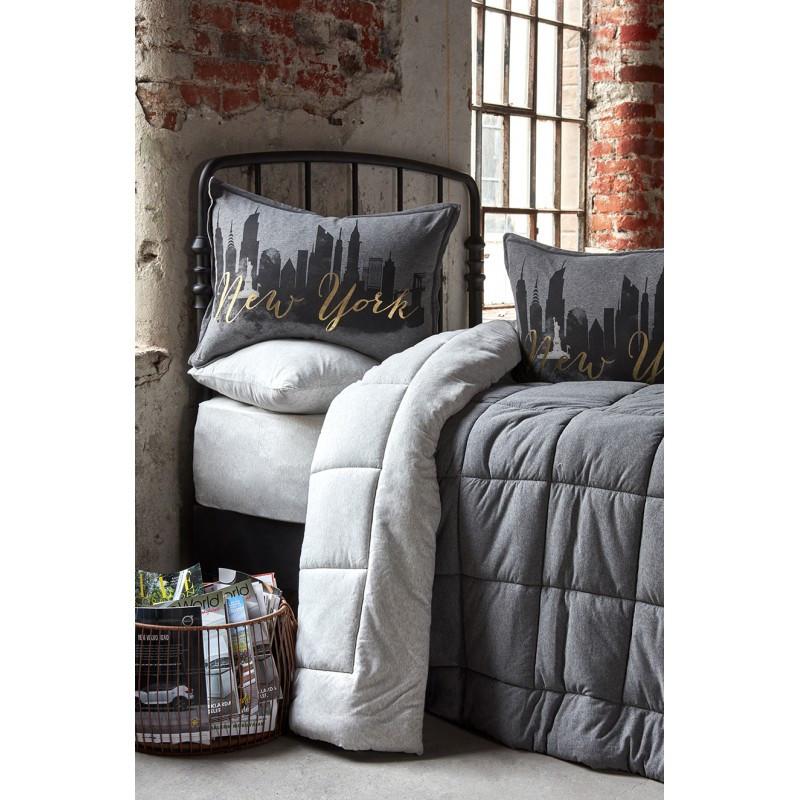 Набор постельное белье с одеялом Karaca Home - New York gri 2019-2 серый евро