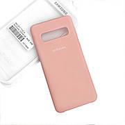 Силиконовый чехол на Samsung S10 Soft-touch Pink