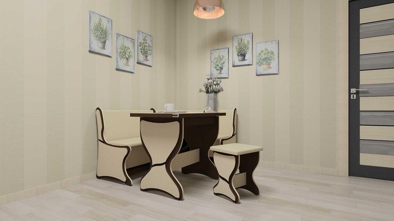 Кухонный уголок Аргентина комплект (стол КС4+диван+2 табурета Т3)