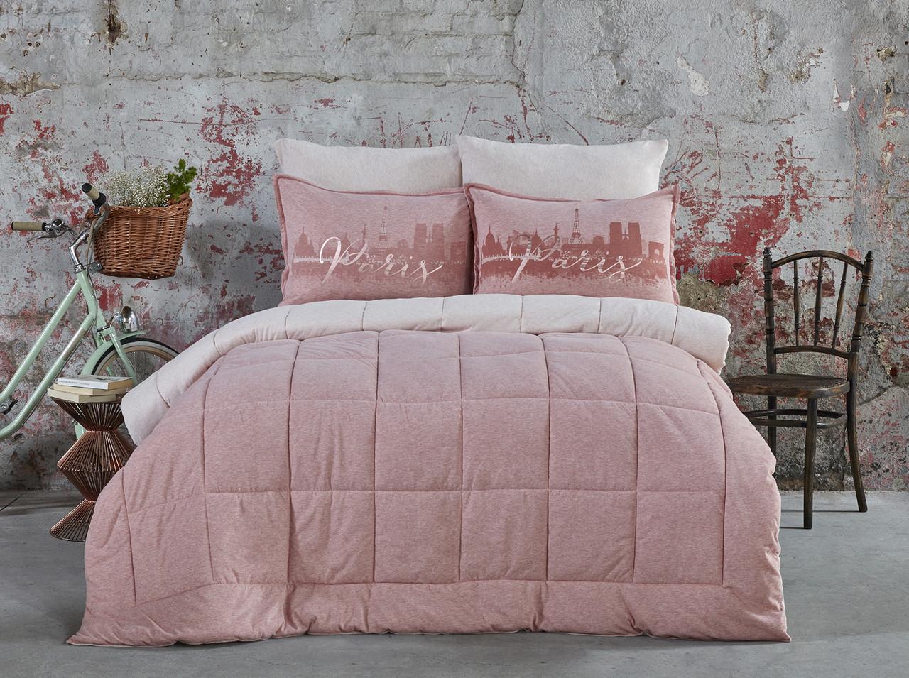 Набор постельное белье с одеялом Karaca Home - Paris pudra 2019-2 пудра евро