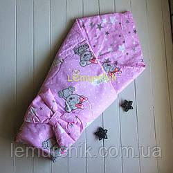 Конверт-одеяло двухсторонний, на съемном синтепоне, Мишка Герл
