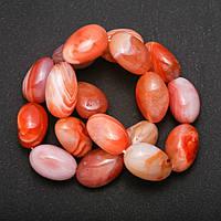 Бусины натуральный камень Сардоникс на нитке галтовка d-15х20(+-) мм L-39см