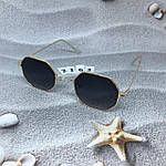 Стильные солнцезащитные очки с черными линзами, фото 6