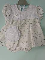 Платье для девочек белое хлопок 6-9 месяцев