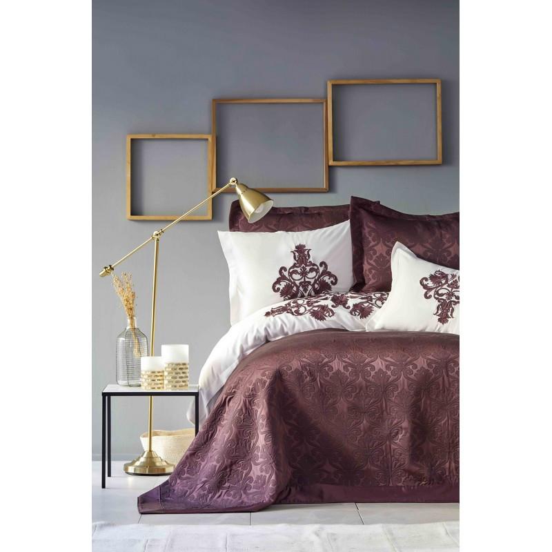 Набор постельное белье с покрывалом Karaca Home - Diana bordo 2019-2 бордовый евро