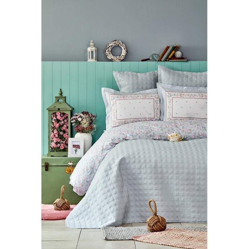 Набор постельное белье с покрывалом Karaca Home - Heras mavi 2019-2 голубой евро