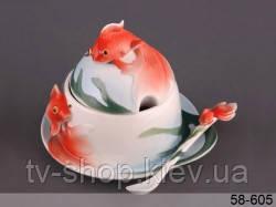 """Икорница с ложкой  «Золотая рыбка"""""""