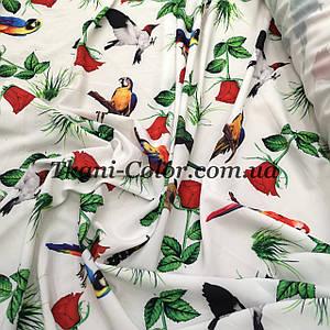 Ткань супер софт принт птички с цветами