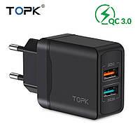TOPK Quick Charge 3.0 3А 28Вт B244Q быстрое зарядное устройство 2 usb порта Цвет Чёрный блок адаптер питания, фото 1
