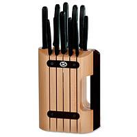 Набор кухонный  11шт с черн. ручкой с подставкой (8 ножей, точило, вилка, овощечистка)