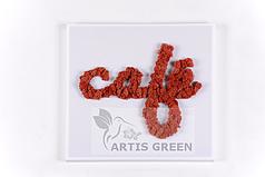 Вывеска Artis Green из стабилизированного мха. Легкая конструкция. Простой монтаж