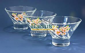 Набор стеклянных креманок 250мл (3шт./наб.) декор 12с1577 Яблочный цветок