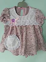 Платье для девочек фиолетовое хлопок 6-9 месяцев