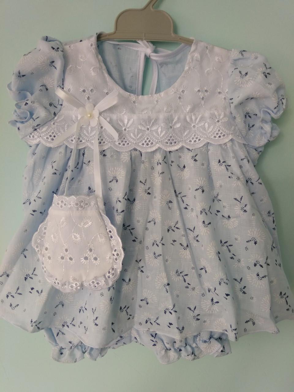 Платье для девочек голубое хлопок 6-9 месяцев
