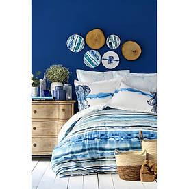 Постельное белье Karaca Home ранфорс - Nalini mavi 2019-2 голубой евро