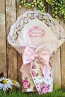"""Конверт-одеяло на выписку """"Принцесса"""" цветы 75*75см"""