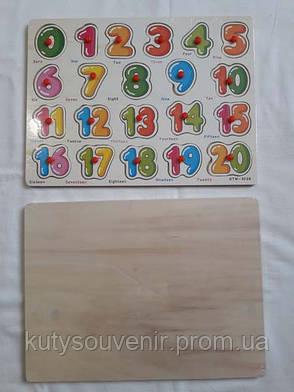 Деревянная игрушка цифра пазл-сортер, фото 2