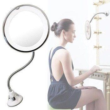 Гибкое зеркало на присоске с 5x увеличением и подсветкой