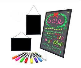 Рекламная светодиодная LED доска 60x40 Sparkle Board + маркеры неоновая вывеска