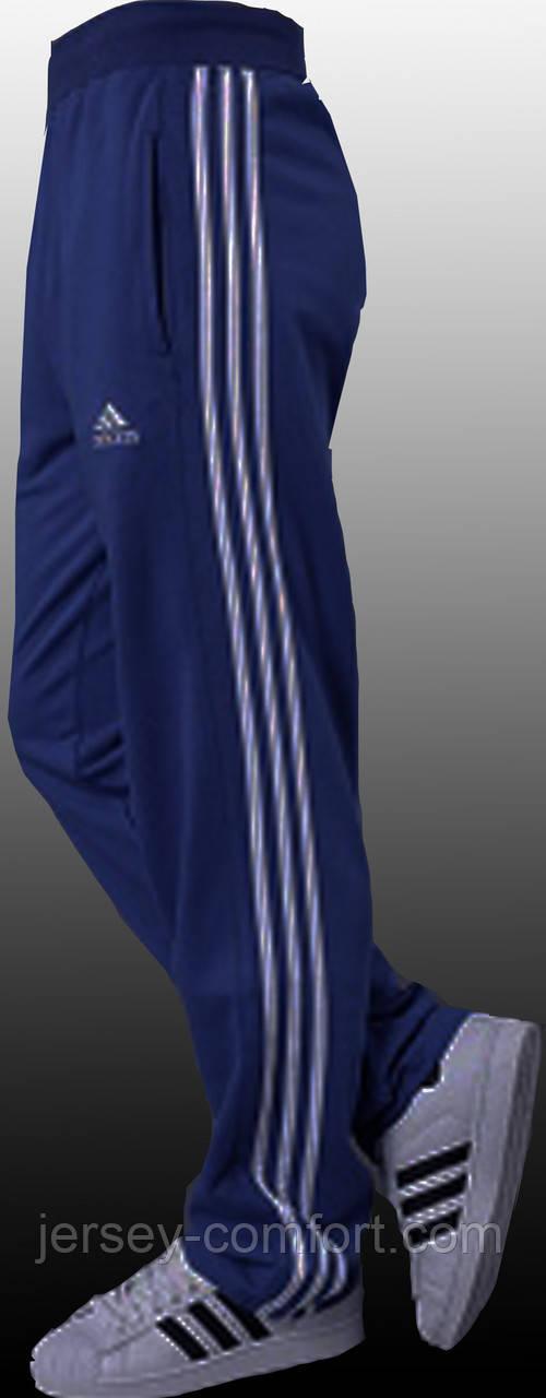 Брюки мужские спортивные синие, лампас белый. Мод. 4024.