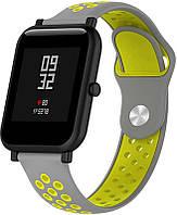 Ремешок UWatch Silicone Double color strap for Amazfit Bip Grey/Yellow #I/S
