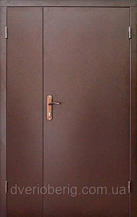 Техническая металлическая дверь модель двух створчатая двух листовая коричневая., фото 2