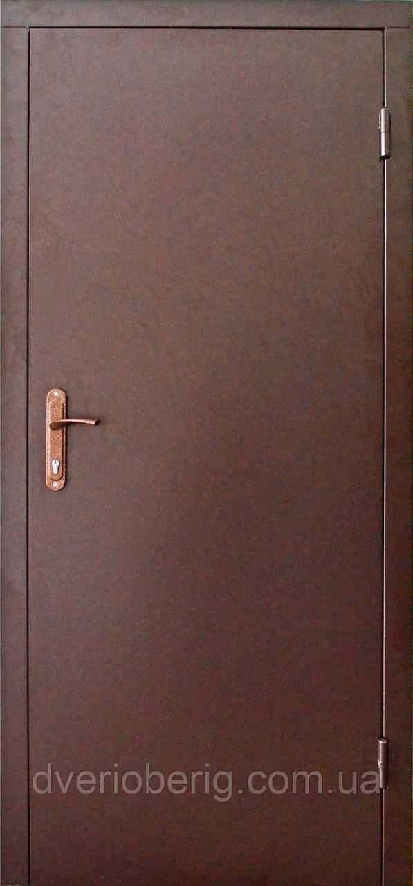 Двери технические металлические модель двух листовая коричневая.