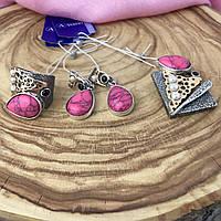 Серебряный комплект Марле розовая бирюза