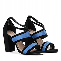 Классические женские босоножки черно синие, фото 1