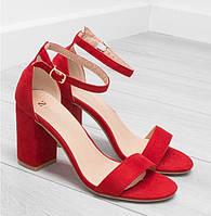 Красные замшевые босоножки, фото 1