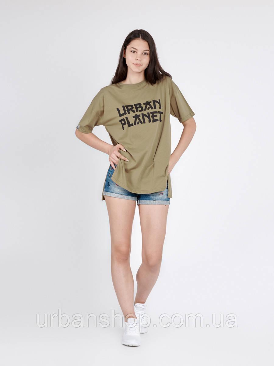 Футболка женская JPN OLIVE T Urban Planet L 100% котон Оливковый UP 3-6-0-4