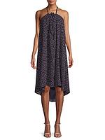 Женское стильное нарядное темно-синее платье в горошек Lucca Couture