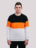 Свитшот  COLOR T WHT Urban Planet XXXL 90% котон, 10% еластан Черный-оранжевый-белый UP 3-4-0-115, фото 1