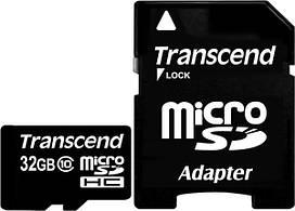 Карта памяти Transcend microSDXC/SDHC Class 10 SD adapter 32Gb #I/S