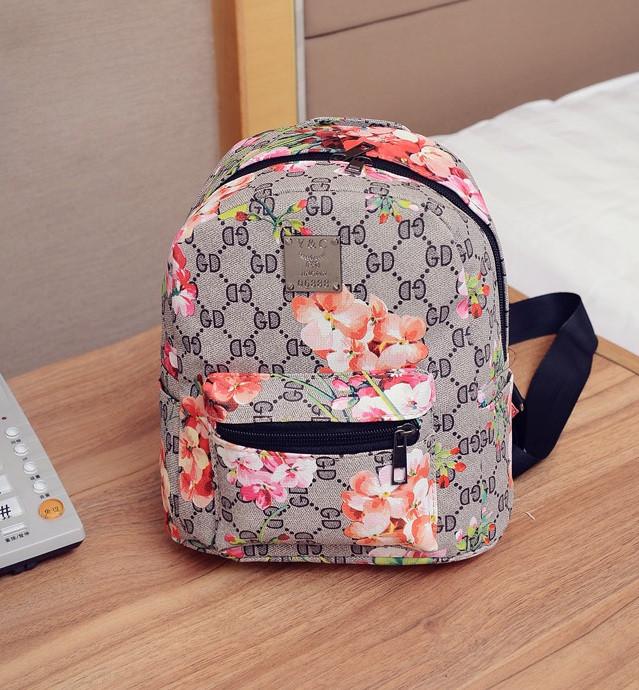 aa77c1342e50 Рюкзак женский маленький с цветами Серый