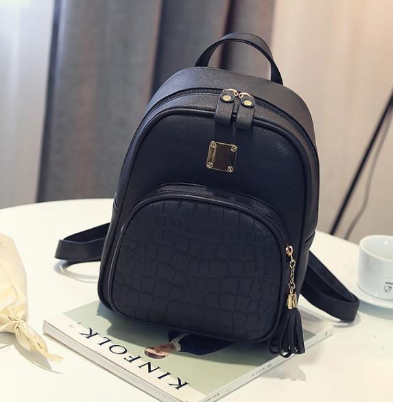 bd0f08e0987a Кожаный женский рюкзак Экокожа Черный