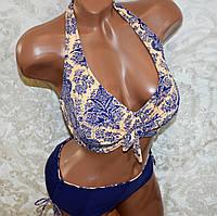 50 размер (XXL). Модный женский открытый купальник, синий с камушками, на завязках, мягкая чашка