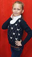 Кофта обманка теплая для девочки 7-10 лет