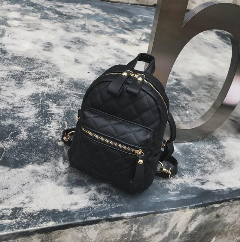 511abb0ab494 Маленький женский рюкзак стеганный Черный