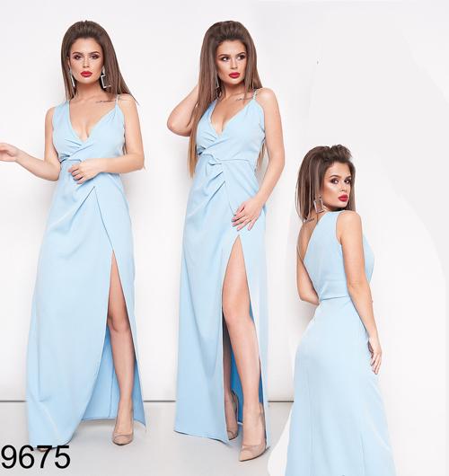 Вечернее женское длинное платье с разрезом (голубой) 829675