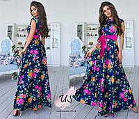Длинное шелковое летнее платье в цветочный принт. 3 расцветки!