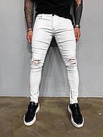 😜 Джинсы - мужские белые штаны рваные  с замком внизу