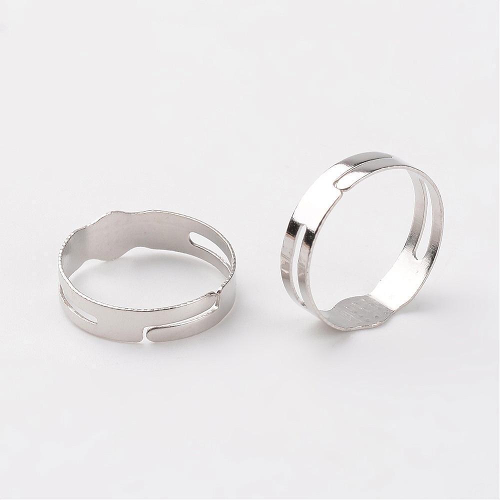 Металлическое кольцо основа 17мм  платина для рукоделия