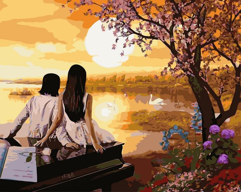 Картини по номерах 40×50 см. Закат в раю