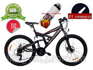 Горный велосипед Azimut Shock 24 D+ черно-красный