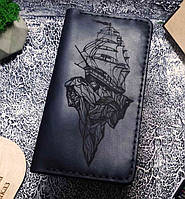 Мужской кожаный кошелек Корабль черный + упаковка в подарок