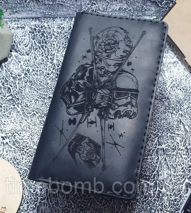 Мужской кожаный кошелек Звездные войны черный