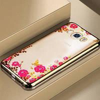 Силиконовый чехол с цветами и стразами для Samsung Galaxy S5, фото 1